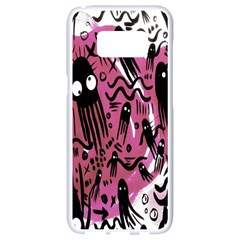Octopus Colorful Cartoon Octopuses Pattern Black Pink Samsung Galaxy S8 White Seamless Case by Mariart