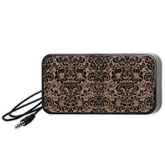Damask2 Black Marble & Brown Colored Pencil (r) Portable Speaker (black) by trendistuff