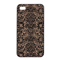 Damask2 Black Marble & Brown Colored Pencil (r) Apple Iphone 4/4s Seamless Case (black) by trendistuff