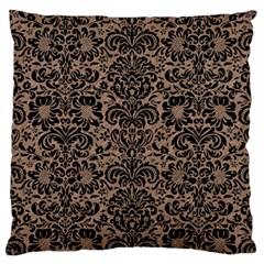 Damask2 Black Marble & Brown Colored Pencil (r) Large Cushion Case (two Sides)