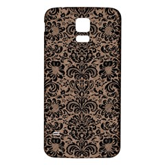 Damask2 Black Marble & Brown Colored Pencil (r) Samsung Galaxy S5 Back Case (white) by trendistuff