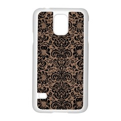 Damask2 Black Marble & Brown Colored Pencil (r) Samsung Galaxy S5 Case (white) by trendistuff