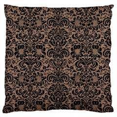 Damask2 Black Marble & Brown Colored Pencil (r) Large Flano Cushion Case (two Sides) by trendistuff