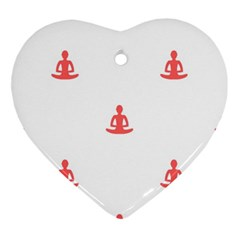 Seamless Pattern Man Meditating Yoga Orange Red Silhouette White Ornament (heart) by Mariart