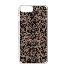 Damask2 Black Marble & Brown Colored Pencil (r) Apple Iphone 7 Plus White Seamless Case by trendistuff