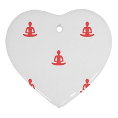 Seamless Pattern Man Meditating Yoga Orange Red Silhouette White Heart Ornament (two Sides) by Mariart