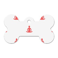 Seamless Pattern Man Meditating Yoga Orange Red Silhouette White Dog Tag Bone (two Sides) by Mariart