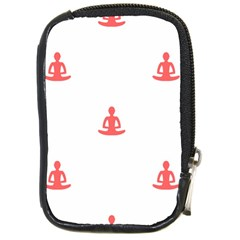 Seamless Pattern Man Meditating Yoga Orange Red Silhouette White Compact Camera Cases by Mariart