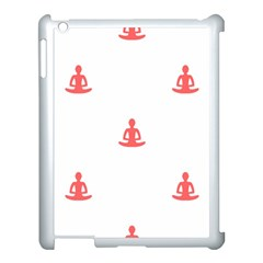 Seamless Pattern Man Meditating Yoga Orange Red Silhouette White Apple Ipad 3/4 Case (white) by Mariart