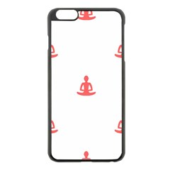 Seamless Pattern Man Meditating Yoga Orange Red Silhouette White Apple Iphone 6 Plus/6s Plus Black Enamel Case by Mariart