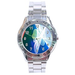 Net Sea Blue Sky Waves Wave Chevron Stainless Steel Analogue Watch by Mariart