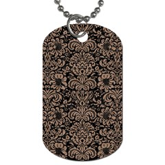 Damask2 Black Marble & Brown Colored Pencil Dog Tag (two Sides) by trendistuff