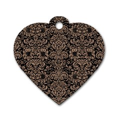 Damask2 Black Marble & Brown Colored Pencil Dog Tag Heart (one Side) by trendistuff