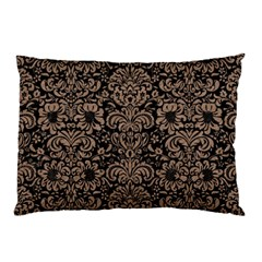 Damask2 Black Marble & Brown Colored Pencil Pillow Case by trendistuff