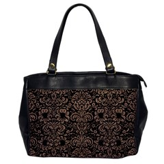 Damask2 Black Marble & Brown Colored Pencil Oversize Office Handbag by trendistuff