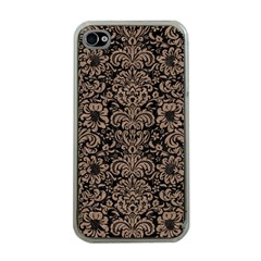 Damask2 Black Marble & Brown Colored Pencil Apple Iphone 4 Case (clear) by trendistuff
