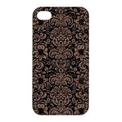 Damask2 Black Marble & Brown Colored Pencil Apple Iphone 4/4s Premium Hardshell Case by trendistuff