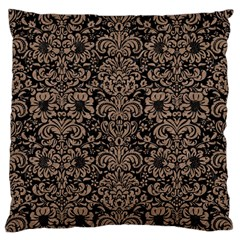 Damask2 Black Marble & Brown Colored Pencil Large Flano Cushion Case (one Side) by trendistuff