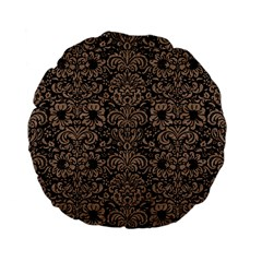 Damask2 Black Marble & Brown Colored Pencil Standard 15  Premium Flano Round Cushion  by trendistuff