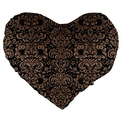 Damask2 Black Marble & Brown Colored Pencil Large 19  Premium Flano Heart Shape Cushion by trendistuff