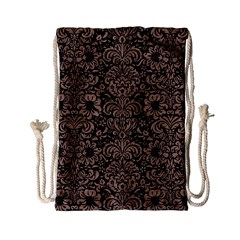 Damask2 Black Marble & Brown Colored Pencil Drawstring Bag (small) by trendistuff