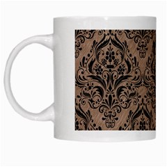 Damask1 Black Marble & Brown Colored Pencil (r) White Mug by trendistuff