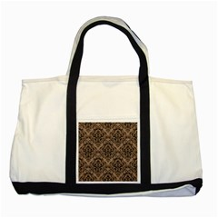 Damask1 Black Marble & Brown Colored Pencil (r) Two Tone Tote Bag by trendistuff