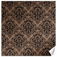 Damask1 Black Marble & Brown Colored Pencil (r) Canvas 16  X 16  by trendistuff