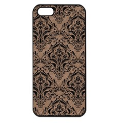 Damask1 Black Marble & Brown Colored Pencil (r) Apple Iphone 5 Seamless Case (black) by trendistuff