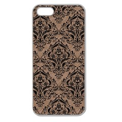 Damask1 Black Marble & Brown Colored Pencil (r) Apple Seamless Iphone 5 Case (clear) by trendistuff