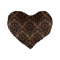 Damask1 Black Marble & Brown Colored Pencil (r) Standard 16  Premium Flano Heart Shape Cushion  by trendistuff