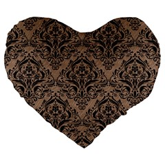 Damask1 Black Marble & Brown Colored Pencil (r) Large 19  Premium Flano Heart Shape Cushion by trendistuff