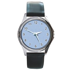 Seamless Lines Concentric Circles Trendy Color Heavenly Light Airy Blue Round Metal Watch by Mariart