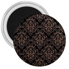 Damask1 Black Marble & Brown Colored Pencil 3  Magnet by trendistuff