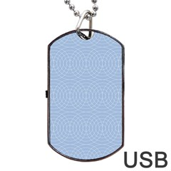 Seamless Lines Concentric Circles Trendy Color Heavenly Light Airy Blue Dog Tag Usb Flash (two Sides) by Mariart