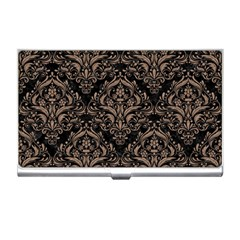 Damask1 Black Marble & Brown Colored Pencil Business Card Holder by trendistuff