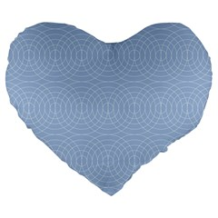 Seamless Lines Concentric Circles Trendy Color Heavenly Light Airy Blue Large 19  Premium Heart Shape Cushions by Mariart