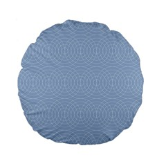 Seamless Lines Concentric Circles Trendy Color Heavenly Light Airy Blue Standard 15  Premium Flano Round Cushions by Mariart