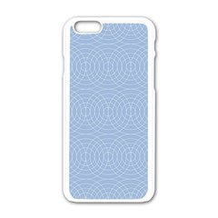 Seamless Lines Concentric Circles Trendy Color Heavenly Light Airy Blue Apple Iphone 6/6s White Enamel Case by Mariart