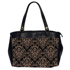 Damask1 Black Marble & Brown Colored Pencil Oversize Office Handbag (2 Sides) by trendistuff
