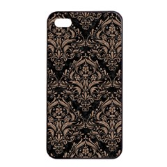 Damask1 Black Marble & Brown Colored Pencil Apple Iphone 4/4s Seamless Case (black) by trendistuff