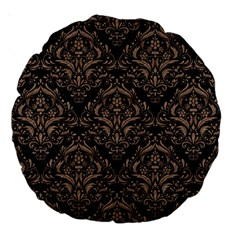 Damask1 Black Marble & Brown Colored Pencil Large 18  Premium Round Cushion  by trendistuff