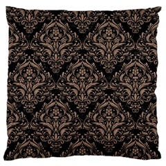 Damask1 Black Marble & Brown Colored Pencil Large Flano Cushion Case (one Side) by trendistuff
