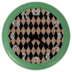 Diamond1 Black Marble & Brown Colored Pencil Color Wall Clock
