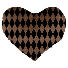Diamond1 Black Marble & Brown Colored Pencil Large 19  Premium Flano Heart Shape Cushion by trendistuff