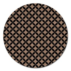 Circles3 Black Marble & Brown Colored Pencil (r) Magnet 5  (round) by trendistuff