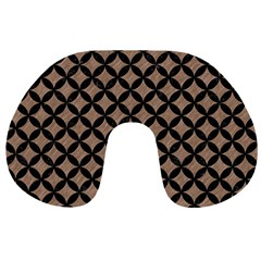 Circles3 Black Marble & Brown Colored Pencil (r) Travel Neck Pillow by trendistuff