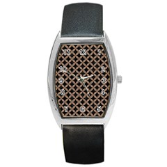 Circles3 Black Marble & Brown Colored Pencil Barrel Style Metal Watch by trendistuff