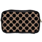 CIRCLES2 BLACK MARBLE & BROWN COLORED PENCIL (R) Toiletries Bag (One Side) Front