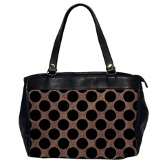 Circles2 Black Marble & Brown Colored Pencil (r) Oversize Office Handbag by trendistuff